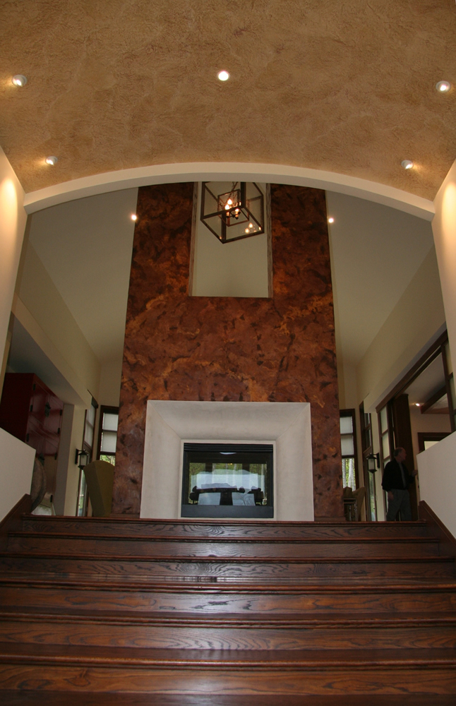 Mantovano Barrel Ceiling and Verona Rustic Venetian Plaster Double Chimney by Plaster Artistry