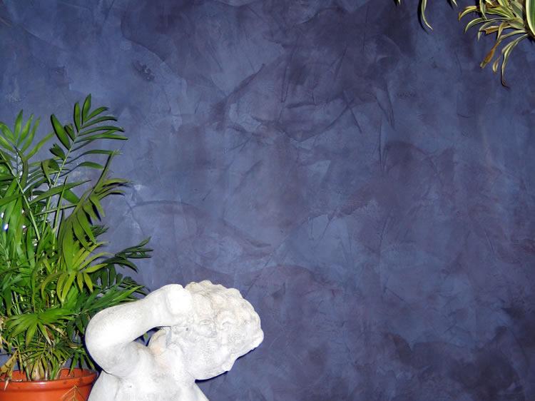 Venetian Plaster blue garden room