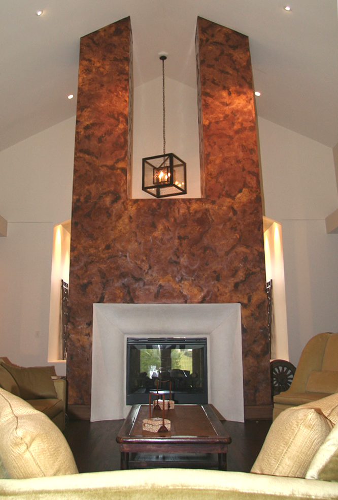 Double rustic chimney with Verona Venetian Plaster by Plaster Artistry