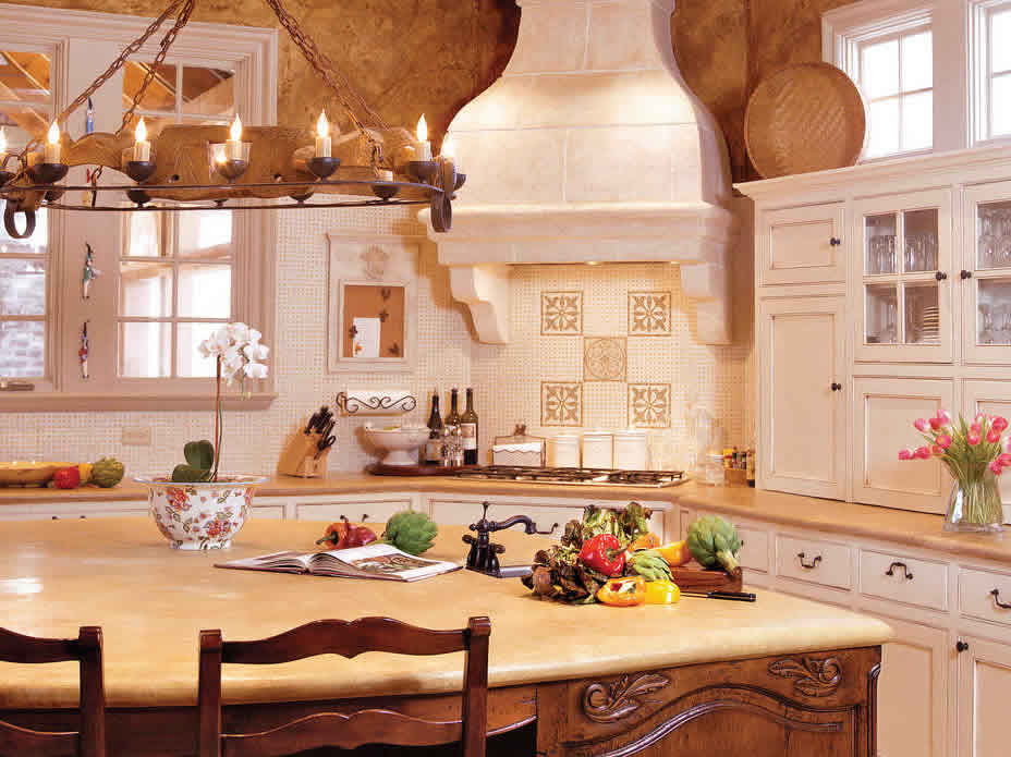 French Country Kitchen featured in Southern Living Magazine - Venetian Plaster by Plaster Artistry