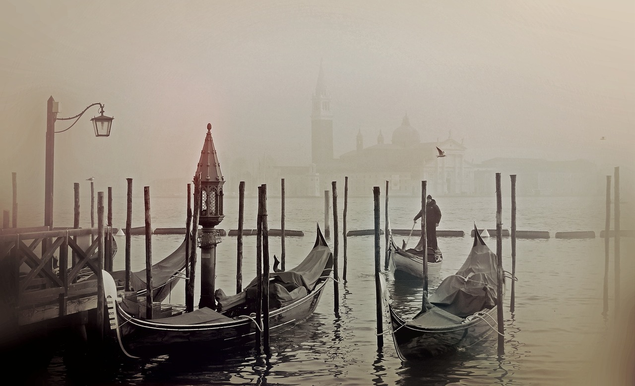 Gondolas in the Fog, Venice Italy