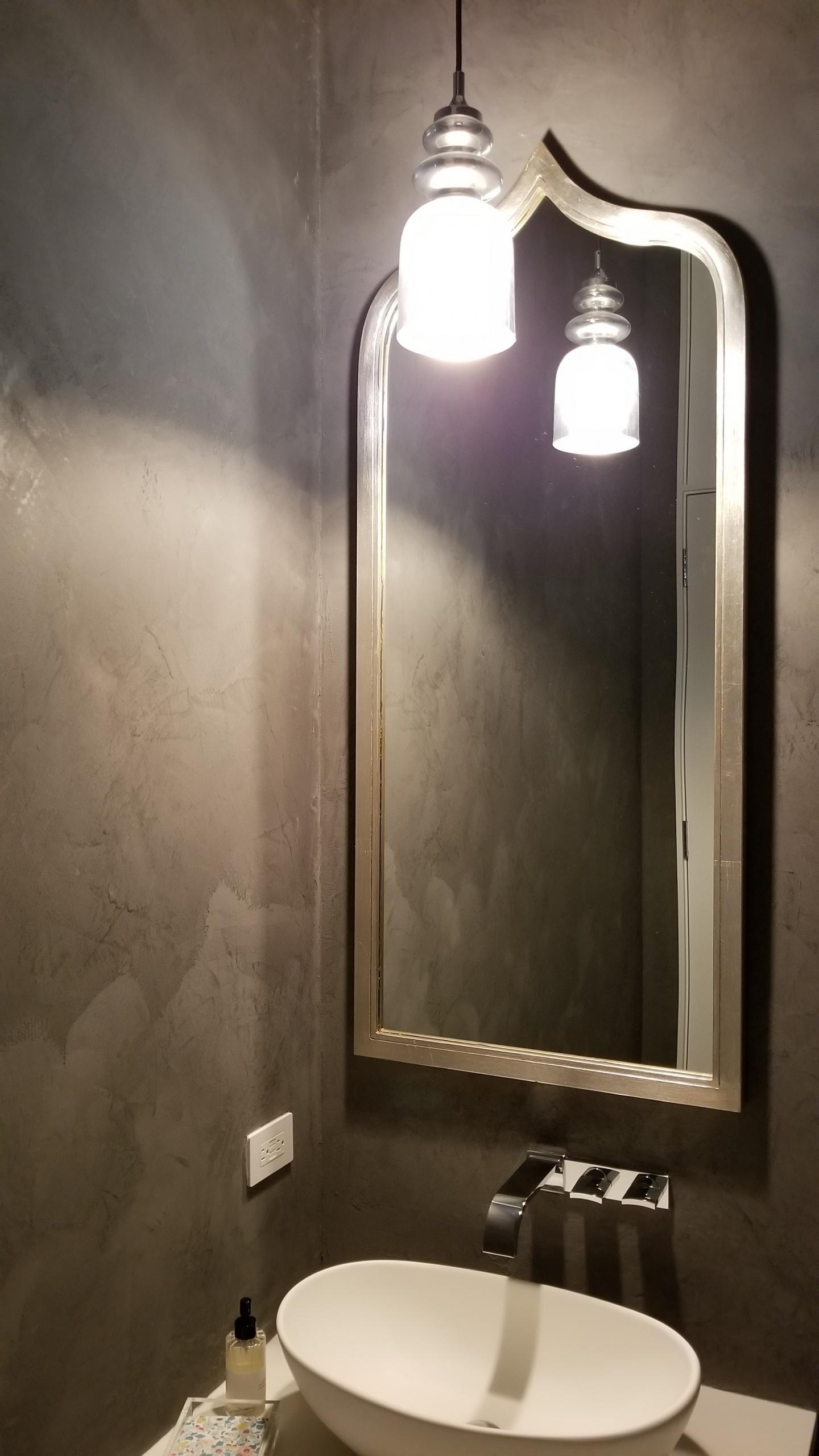 Grey Marmorino Powder Room by Plaster Artistry