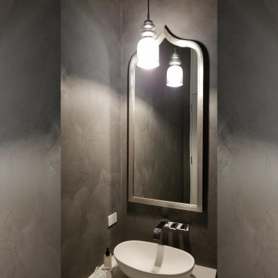 Gray Marmorino Powder Room by Plaster Artistry