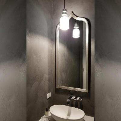 Gray Marmorino Powder Room by Plaster Artistry