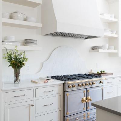 Off-white Velluto Venetian Plaster Range Hood by Plaster Artistry