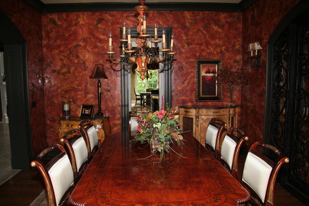 Red Verona Venetian Plaster Dining Room by Plaster Artistry