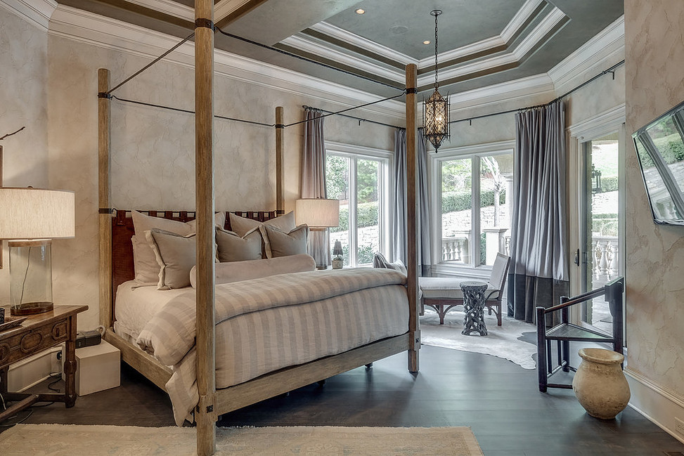 Textured Aquarello Bedroom Suite with Metallo Venetian Plaster Ceiling by Plaster Artistry