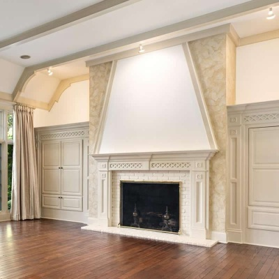 Textured Aquarello Venetian Plaster Fireplace by Plaster Artistry