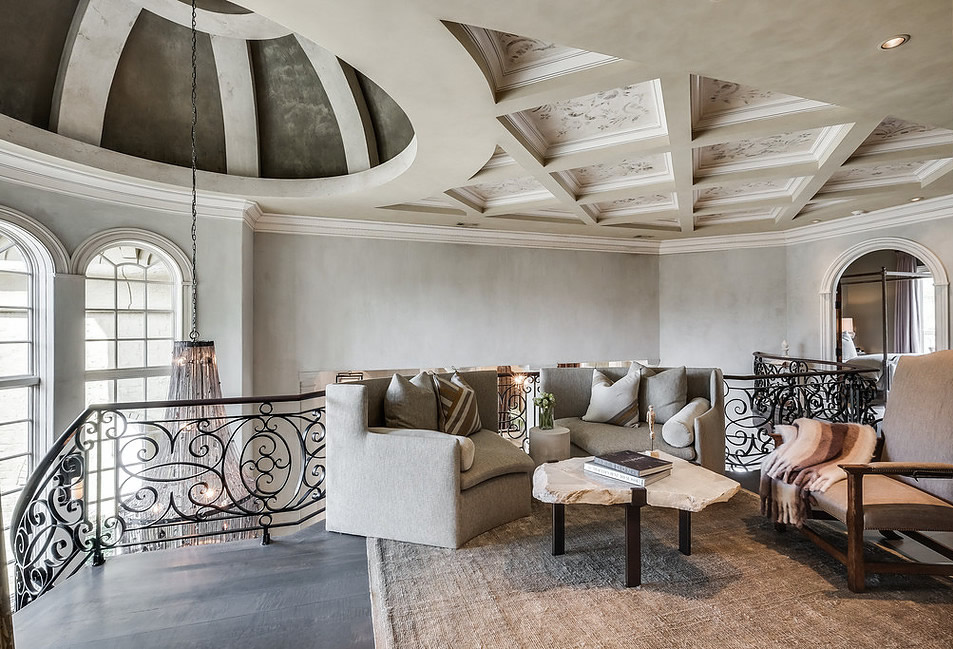 Metallic Venetian Plaster Dome and Stencil Venetian Plaster Coffered Ceiling in $5M Home