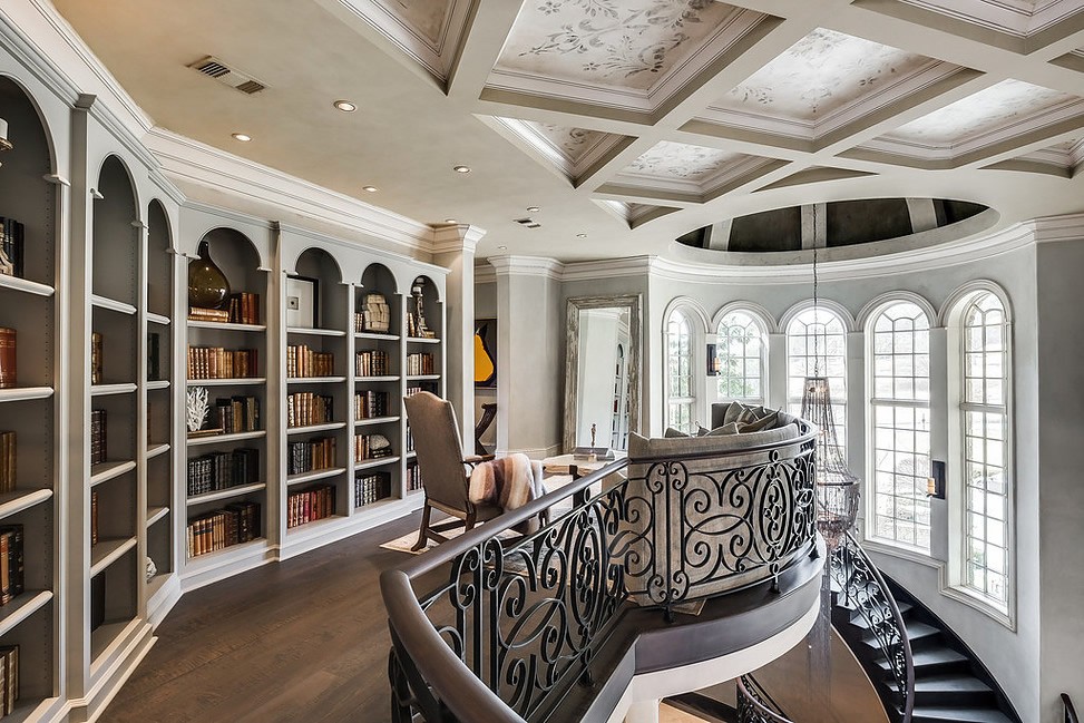 Metallo Venetian Plaster Dome and Stencil Venetian Plaster Coffered Ceiling in $5M Home