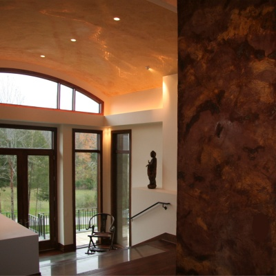 Verona Venetian Plaster Double Chimney/Fireplace and Mantovano Venetian Plaster Barrel Vault Ceiling by Plaster Artistry